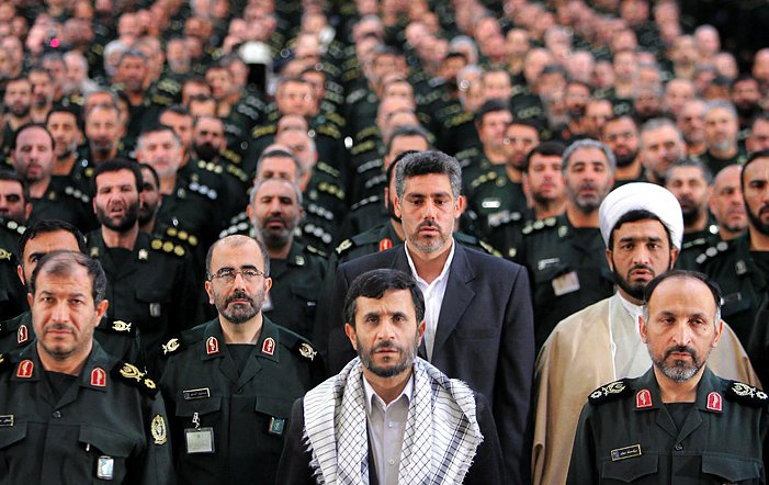 Ahmadinejad and fellow Basij veterans, in ceremonial uniform